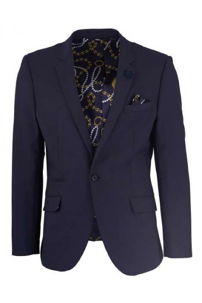 Men's Sateen Blazer by Suslo Couture - Navy