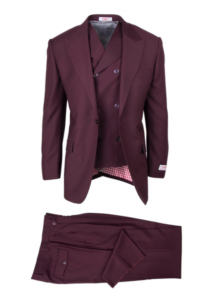 San Giovesse Full Cut Men's Suit  by Tiglio Rosso - Burgundy