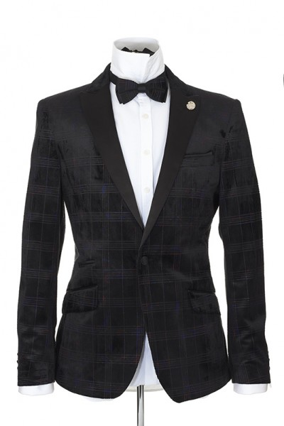 Men's Blazer by Suslo Couture - Black Shadow Plaid