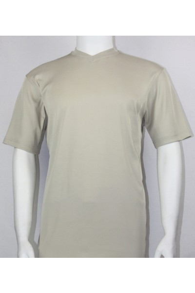 Bassiri S/S Mens V-Neck Knit Microfiber T-Shirt - Tan