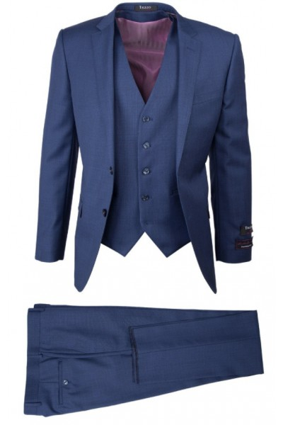 Tiglio Lux 3 Pc Slim Fit Men's Suit  - Sienna Blue