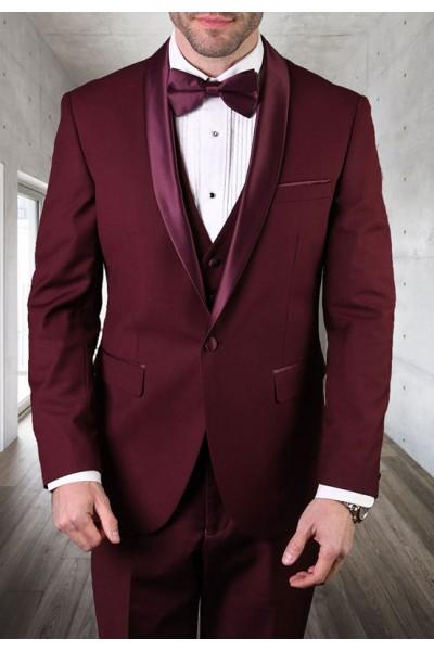 Men's Tux - Tailored Fit - Tux-SH Burgundy a
