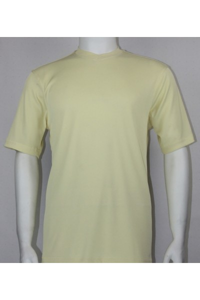 Bassiri S/S Mens V-Neck Knit Microfiber T-Shirt - Butter