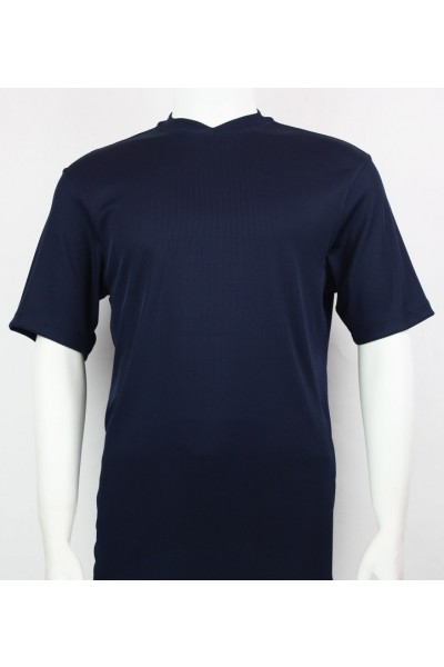 Bassiri S/S Mens V-Neck Knit Microfiber T-Shirt - Navy