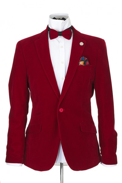 Men's Blazer by Suslo Couture - Velvet / Red