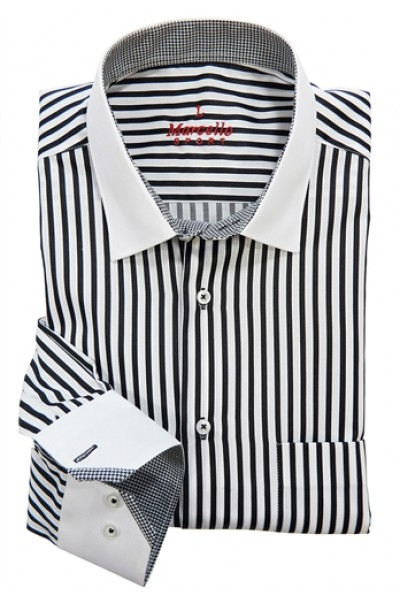 Men's Fashion Shirt by Marcello Sport - Black Stripe