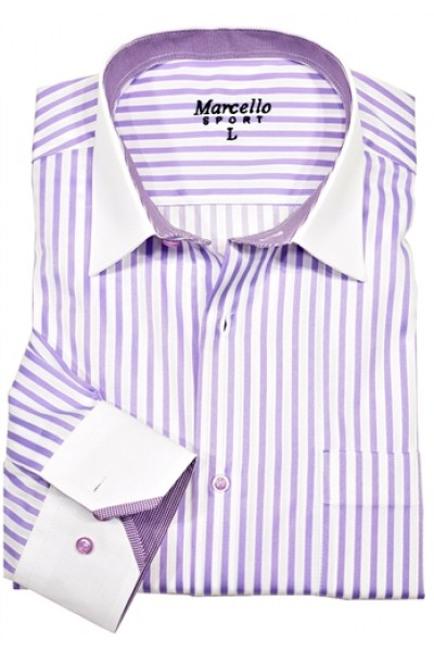 Men's Fashion Shirt by Marcello Sport - Lavender Stripe