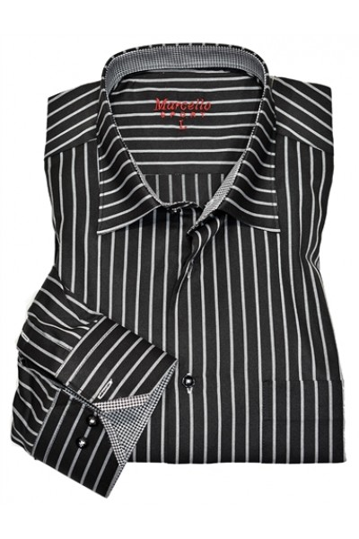 Men's Fashion Shirt by Marcello Sport - B/W Stripe