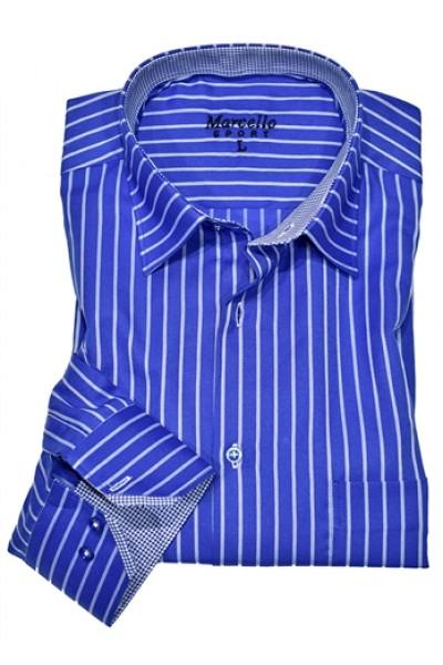 Men's Fashion Shirt by Marcello Sport - Blue Stripe