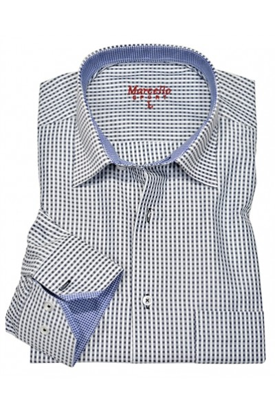 Men's Fashion Shirt by Marcello Sport - Blue Gingham Check