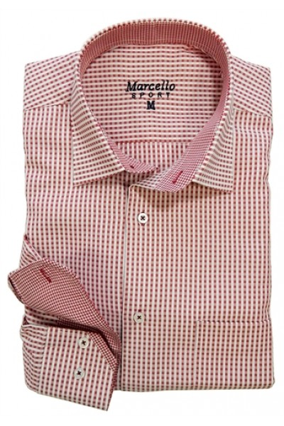 Men's Fashion Shirt by Marcello Sport - Red Gingham Check