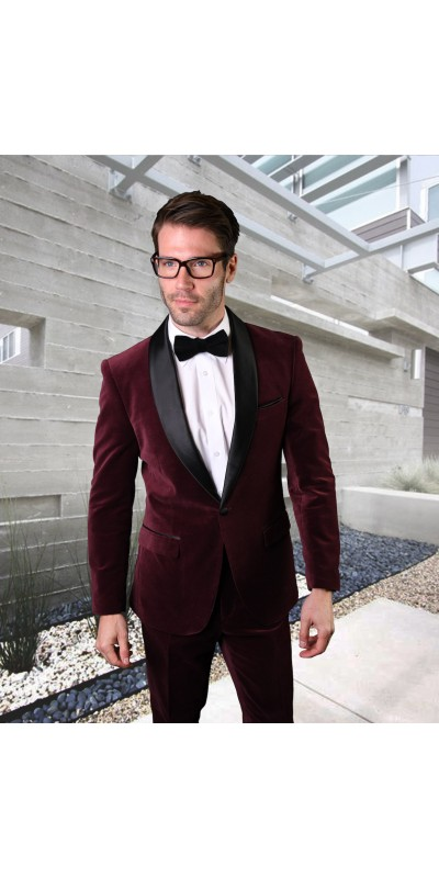 Men's Suit - Modern Fit - Burgundy Velvet
