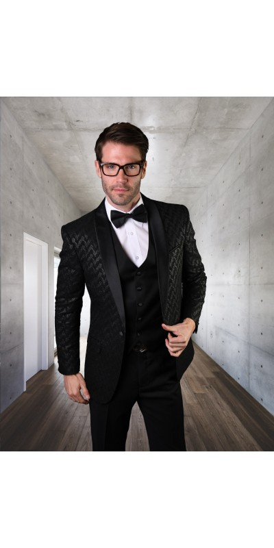 Men's Suit - Modern Fit - Black Chevron Velvet