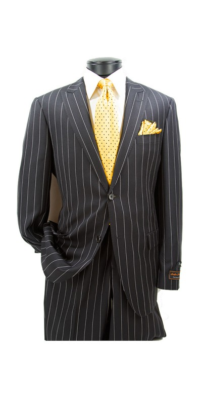 Tiglio Modern Fit  Men's Suit - Black Pinstripe b