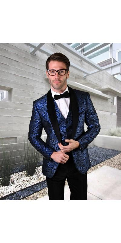 Men's Suit - Modern Fit - Royal / Black Velvet