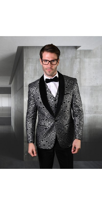 Men's Suit - Modern Fit - Silver / Black Velvet
