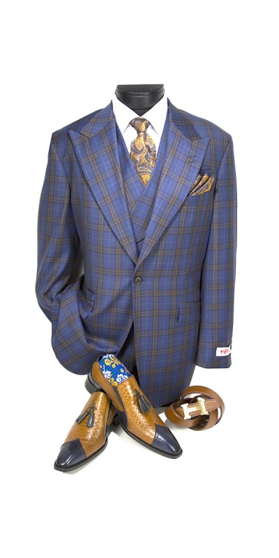 3 Pc Full Cut Men's Suit  by Tiglio Rosso - New Rosso Blue/Brown Plaid