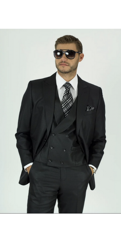 Needle & Stitch Men's 3 Piece Suit - Textured Solid / Black