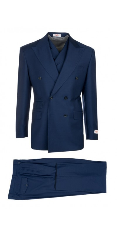 EST Men's Double Breasted Suit by Tiglio Rosso - French Blue