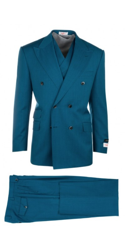 EST Men's Double Breasted Suit by Tiglio Rosso - Teal