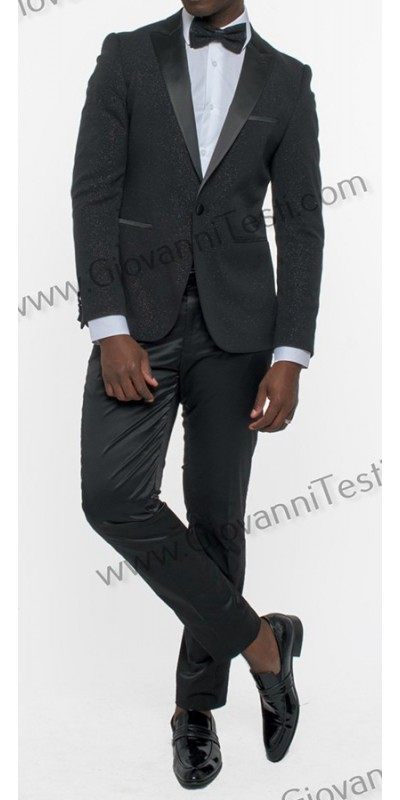 Giovanni Testi Slim Fit Tuxedo Suit - Glitter / Black a