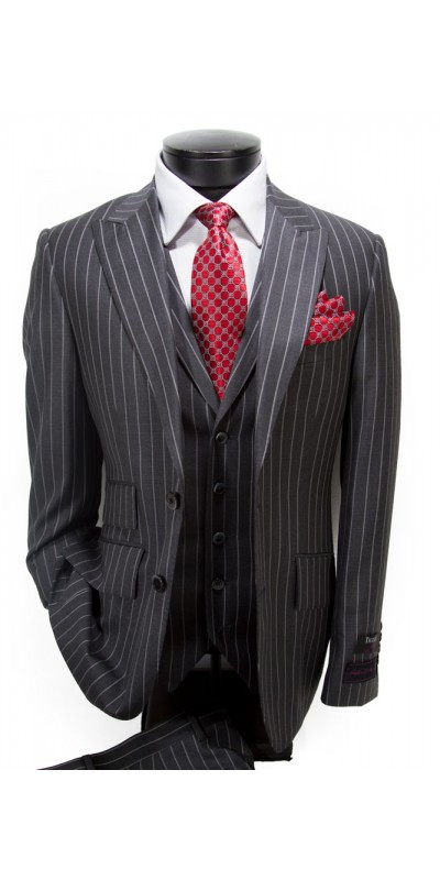 Tiglio Luxe Slim Fit 3pc Suit - Terrano Grey Pin Stripe