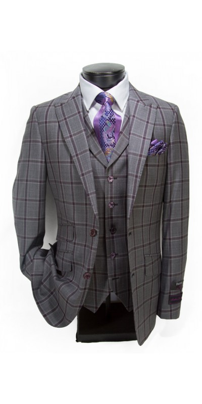 Tiglio Luxe Slim Fit 3pc Suit - Terrano Grey / Lavender Plaid
