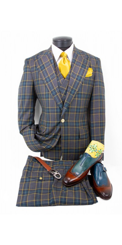 Tiglio 3 Piece Suit - New Rosso - Mustard / Teal Plaid