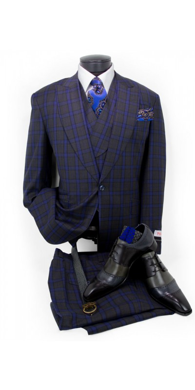 Men's Suit by Tiglio - New Rosso - Grey Blue Plaid a