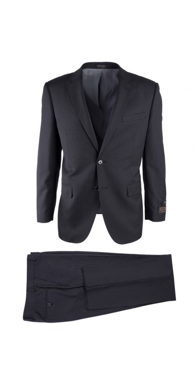 Novello Modern Fit Luxe Suit by Tiglio - Black Mini-Stripe