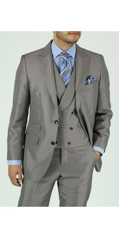 Needle & Stitch Men's 3 Piece Suit - Glen Plaid / Gray