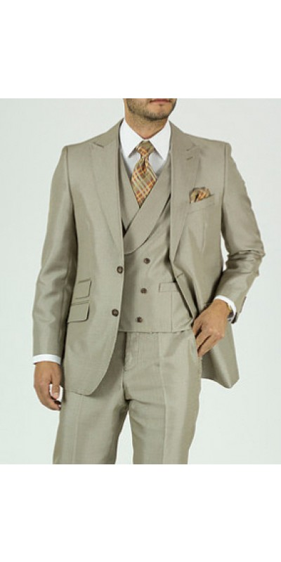 Needle & Stitch Men's 3 Piece Suit - Glen Plaid / Tan