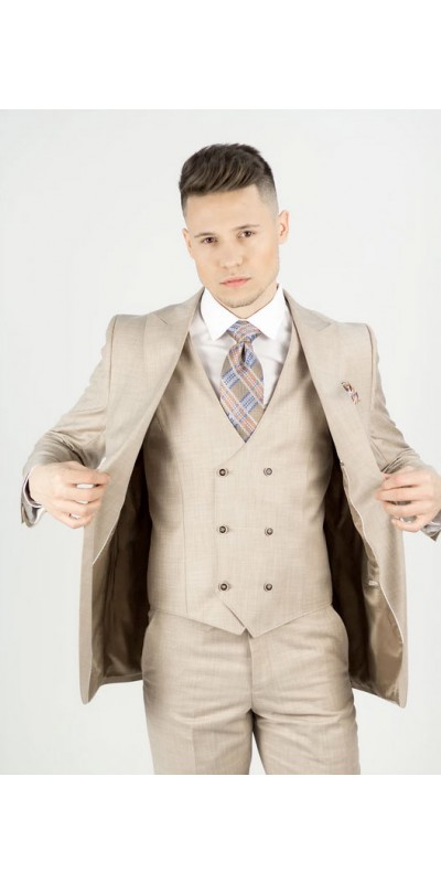 Needle & Stitch Men's Modern Fit 3 Piece Suit - Beige