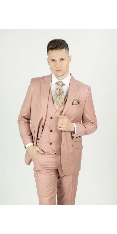 Needle & Stitch Men's Modern Fit 3 Piece Suit - Salmon