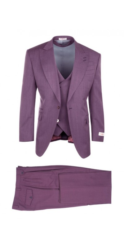3 Pc Full Cut Men's Suit  by Tiglio Rosso - Rosso Raspberry Wide Leg