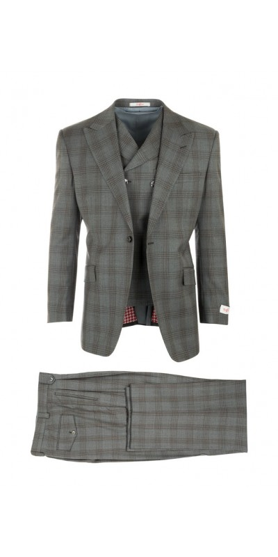 San Giovesse Full Cut Men's Suit  by Tiglio Rosso - Windowpane Plaid / Grey