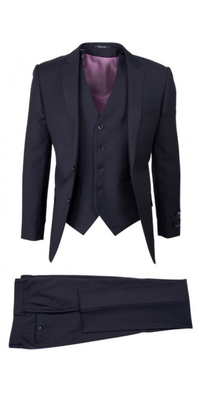 TIG1002 Sienna, Tiglio Lux 3 Pc Slim Fit Men's Suit  - Sienna Black
