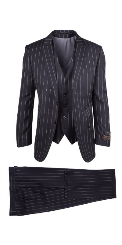 Tiglio Luxe Modern Fit Men's Suit - Tufo Black Pinstripe